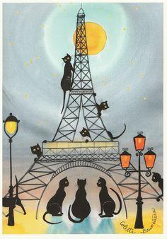 Original artwork Colette Brunelière Les Chats Parisiens