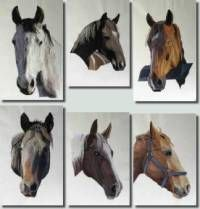 A beautiful set of horse portraits. Machine embroidery