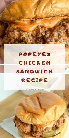Popeyes Chicken Sandwich Recipe, Burger Sauces Recipe, Sandwich Sauces, Spicy Chicken Sandwiches, Cheese Sandwich Recipes, Dinner Sandwiches, Fried Chicken Sandwich, Sandwich Fillings, Chicken Recipes