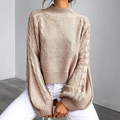 Casual Diamond Mesh Half-High Collar Long Sleeve Loose Sweater – Jojo Like vintage cozy sweater outfitshare aesthetic knit sweater for women Sweater Weather, Winter Sweaters, Sweaters For Women, Hype Clothing, Spring Fashion Casual, Loose Sweater, Pullover Sweaters, Clothes For Women, Blouse