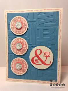 Stampin' Up!, Catherine & Cathy Create, Perfect Pennants, Spiral Spins, Alphabet Press Embossing Folder, 1/2 Circle Punch, 1 3/8 Circle Punch, 1 3/4 Circle Punch
