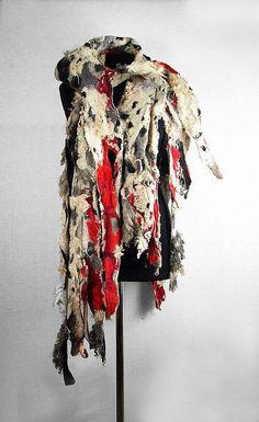 Designer Scarf Felted Scarf Nunofelt Scarf Long Wrap Grey Scarves wild Felt Nunofelt Nuno felt Silk Silkyfelted Eco boho red shawl Fiber Art