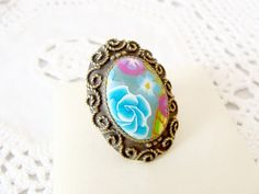 Flower Mix Polymer Clay Adjustable Ring by jewelryfimo on Etsy, $45.00
