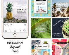 TEMPLATES: Instagram Templates, Tropical, summer template Social Media Marketing DIY Designs, Premade Photoshop Templates. PSD. Social Media Branding, Social Media Design, Social Media Graphics, Social Marketing, Media Marketing, Like Instagram, Instagram Posts, Youtube Channel Art, Social Media Template