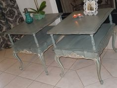 Great pair of side table painted Smoky Mountain Gray.  Original source was on the Etsy shop by Vintage By ReDesign.  https://www.etsy.com/listing/106460929/reserve-for-joy-pair-of-mersman-french