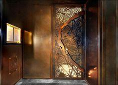 Map Door at Le Grand Restuarant by Gulla Jonsdottir Architecture + Design Interior Staircase, Door Design Interior, Window Design, Main Entrance Door Design, Front Door Entrance, Ceiling Design, Wall Design, House Design, Restaurant Door