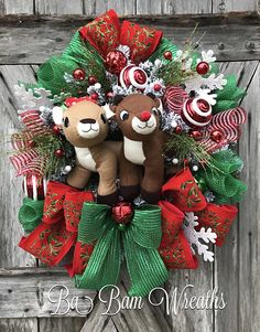Christmas Wreath Christmas Door Christmas Decor Rudolph