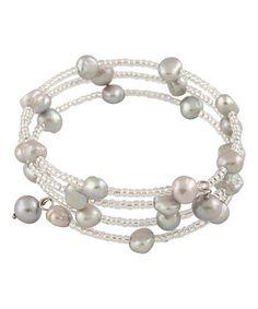 Gray Pearl & Sterling Silver Coil Bracelet