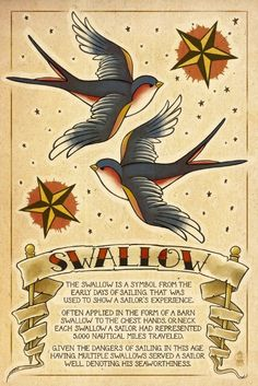 Tattoo Flash Sheet - Swallow (9x12 Art Print, Wall Decor Travel Poster)