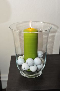 golf theme party idée toute simple de décoration: remplir photophore ou bonbonnière de balles