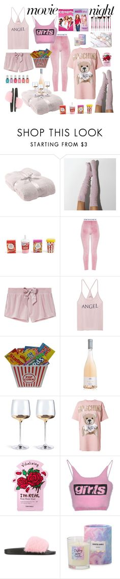 """""""Mean girls movie night"""" by mari-remi ❤ liked on Polyvore featuring Barefoot Dreams, Forever 21, Victoria's Secret, Moschino, TONYMOLY, Alexander Wang, Givenchy, Pink, girly and movieNight"""