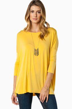 Cozy 3/4 Sleeve Top in Mustard by Piko / ShopSosie #shopsosie #sosie