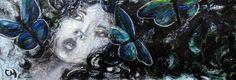 MORPHO par ChristyneProulx/ ©2016/ technique mixte sur bois/ figurative, contemporary art, acrylique, art painting, Street Art (Urban Art), Canvas, Women, butterfly, Portraits, femme,papillon, street art, patchwork, peinture, contemporain, abstrait, tableau street art,expressionnisme