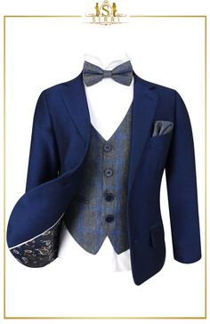 This suit is one of our top picks for the wedding season and it's not hard to see why. Bold but classic, this is a well tailored suit that has all you need. With a nod to the trending vintage look this ensemble features a gorgeous grey-blue tweed check waistcoat that also has a matching tie and hanky. Shop now at SIRRI kids #boys suits for weddings #baby boy suit #toddler suits