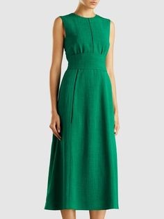 CEFINN - Sleeveless Midi Dress With Wide Belt