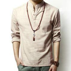2015 high quality mens linen shirt for men, fashion slim cotton and linen shirts men long sleeve V Neck mens collarless shirts