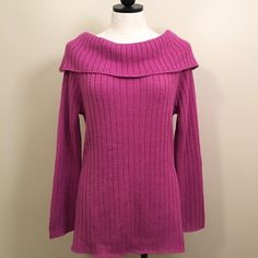 New York & Co. Fuchsia Sparkle Sweater! New York & Co. Sparkle Cowl Neck Sweater! Size: XL. Color: Fuschia- a blend of pink & purple. Excellent used condition: worn once around Christmas-time but decided not to keep. No rips, stains or tears. Recently laundered and comes from smoke free home. Has metallic sparkle thread throughout which makes it fun & glam! Acrylic & poly blend: very warm. Don't let this beauty sit in my closet- it would be a tragedy! New York & Company Sweaters