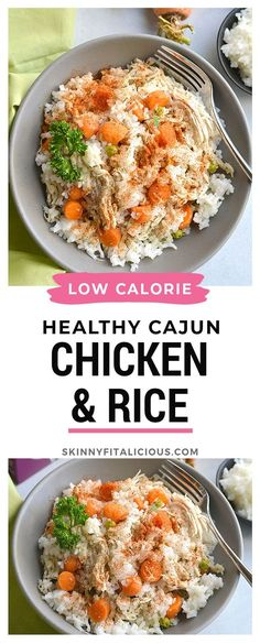 Healthy Cajun Chicken and Rice is a simple low calorie dinner recipe. #healthy #chicken #rice #cajun #low #calorie #glutenfree #instantpot #lowcalorie