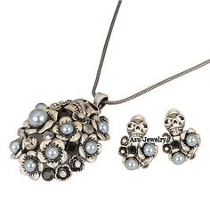 Korean exquisite fashion round shape decorated with CZ diamond charm earrings necklace set (Silver Color) wholesale fashion jewelry