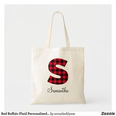 Red Buffalo Plaid Personalized S Monogram Tote Bag Monogram Tote Bags, S Monogram, Monogram Gifts, Christmas Card Holders, Buffalo Plaid, Design Your Own, Cotton Canvas, Reusable Tote Bags, Lettering