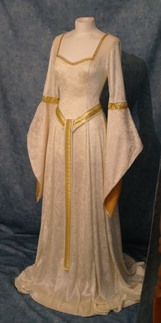 ELVEN DRESS medieval dress renaissance dress fairy dress medieval girdle belt custom made Moda Medieval, Medieval Gown, Medieval Costume, Medieval Dress Pattern, Renaissance Costume, Old Dresses, Pretty Dresses, Vintage Dresses, Linen Dresses