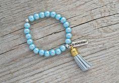 CLEARANCE Sale - Light blue bracelet - beaded bracelet, stacking stretch bracelet, tassel bracelet, tassel jewelry * FREE SHIPPING