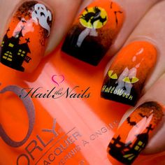 Halloween Nail Art Water Transfer Decal Nail Wraps Bats Witches Haunted House