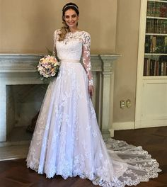 Muslim Wedding Dress 2019 Long Sleeves Full Cover Lace Vestido De Noiva Bride Dress Long Train Bridal Gowns sold by Everbeauties . Muslim Wedding Dresses, Blue Wedding Dresses, Gorgeous Wedding Dress, Wedding Dress Sleeves, Bridal Dresses, Wedding Gowns, Gothic Wedding, Wedding Styles, Marie