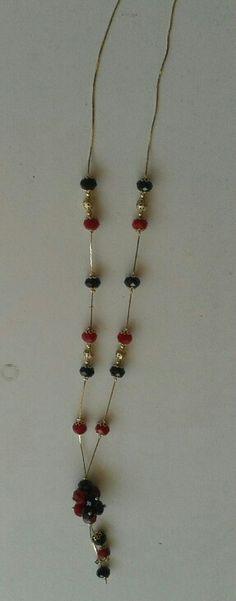 Collar rojo y negro en oro 14k