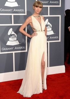 Taylor Swift in a J. Mendel grecian gown. 2013 Grammy Awards