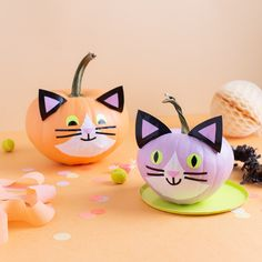 It's pumpkin season! We are dressing up our pumpkins with @theduckbrand and adding little cat faces to them – make them in pastel (our fave!) or go for a spookier look in traditional black. P.S. Use glow-in-the-dark or neon tape to make them really pop at night. Get all the details at duckbrand.com. #ducktape #ad Halloween Projects, Diy Halloween Decorations, Halloween Cat, Halloween Costumes For Kids, Happy Halloween, Little Duck, Cat Pumpkin, Diy Presents, Duck Tape