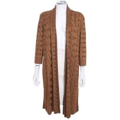 Pre-owned St. John Chain Link Woven Pattern Duster Sweater Cardigan ($289) ❤ liked on Polyvore featuring tops, cardigans, bronze, short-sleeve cardigan, metallic top, cardigan top, st. john and print top