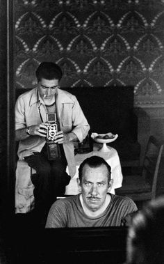 Robert Capa photographs John Steinbeck in the U.S.S.R., 1947.