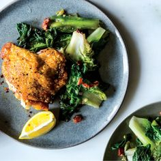 A single pan leads to many wonders: crackly-skinned chicken, hardy escarole, and a touch of smoky bacon.