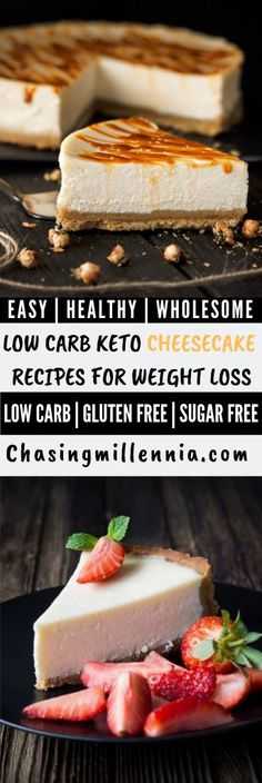 These are some of the best and easy low carb cheesecake recipes that you will ever come across pinterest and that are perfect low carb desserts to fit your keto lifestyle.   Many from the list are crustless, or use almond flour as the crust, stevia for the sweetness and creamcheese for the filling.   Check out these pumpkin pie, chocolate, strawberry, key lime, lemon and cheesecake in a mug recipe to fulfill your sweet cravings.   #lowcarbideas  #dessertfoodrecipes  #ketodessert Ketogenic Desserts, Keto Friendly Desserts, Low Carb Desserts, Low Carb Recipes, Sugar Free Cheesecake, Low Carb Cheesecake Recipe, Cheesecake Cupcakes, Jiggly Cheesecake, Almond Flour Desserts