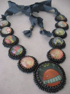 Mr. Roboto Necklace Funky Jewelry, Unique Jewelry, Bead Art, Beaded Embroidery, Wearable Art, Beaded Bracelets, Beading Ideas, Beads, Trending Outfits