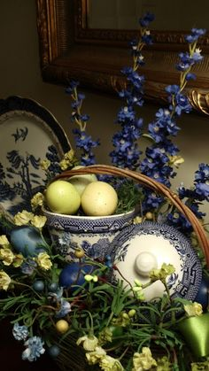 Easter Basket and Blue Willow • Upstairs Downstairs