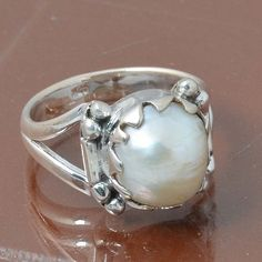 PEARL 925 STERLING SILVER RING JEWELRY 4.26g DJR7030 SIZE 5.5 #Handmade #Ring