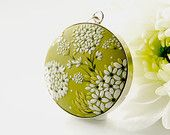 Flower Clusters. One of a kind signed wearable art. Handmade polymer clay pendant on 92.5 sterling silver setting.