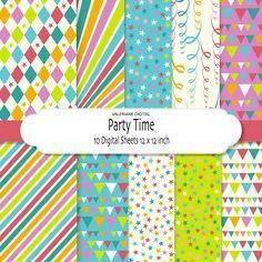 Confetti stars streamers banners - Digital paper pack, digital scrapbook paper in bright colors