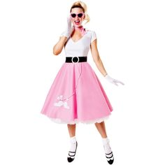 1950s Pink & White Classic Poodle Skirt Costume Set ($52) ❤ liked on Polyvore featuring costumes, pink, white halloween costumes, white costume, pink halloween costumes, pink costume and sock hop costume