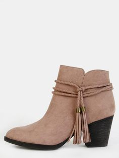 #AdoreWe #MakeMeChic MAKEMECHIC Faux Suede Braided Tassel Boots TAUPE - AdoreWe.com