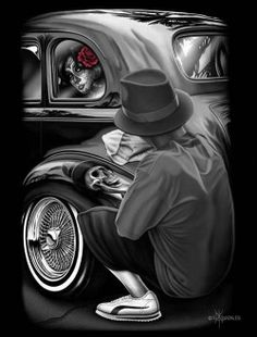 Reflections by David Gonzales Tattoo Canvas Art Print Day of the Dead Lowrider