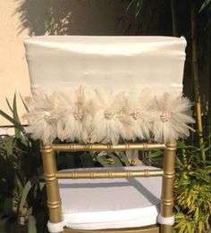 Wedding chair cover wedding chair sash  by FloraRosaDesign on Etsy, Ft6500.00
