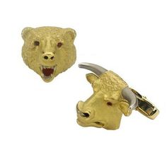 Gold Bull and Bear Cufflinks with Ruby Eyes Deakin and Francis