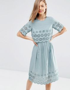 Image 1 ofASOS Double Layer Broderie Midi Dress
