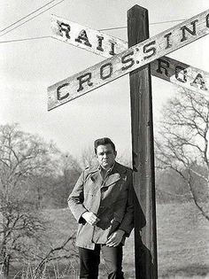 Johnny Cash - Railroad Crossing - 1968 - Photo Poster
