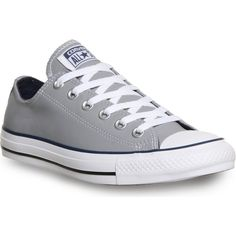 CONVERSE All star low-top leather trainers ($85) ❤ liked on Polyvore featuring shoes, sneakers, converse, flats, grey navy, flat shoes, navy leather flats, leather shoes, gray flats y navy flats