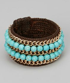 Love this Gold & Turquoise Rope Cuff by PANNEE JEWELRY on #zulily! #zulilyfinds