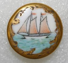 Antique Porcelain button with ship painting.  Late 18th - early 20th century.